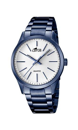 Lotus Reloj para Hombres, Esfera de Cuarzo Blanco y Pulsera Plateada de Acero Inoxidable Azul 18163/1: LOTUS: Amazon.es: Relojes