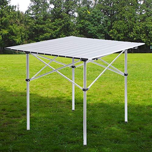 Peppydazi Ridge Roll Up Top Aluminum Outdoor Camping Picnic Folding Table 7070CM