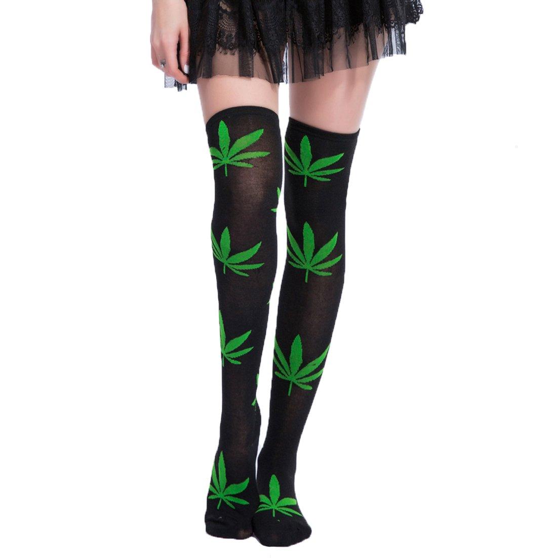 Girls Women Long Over Knee High Socks Marijuana Leaf Animal Costume Stockings