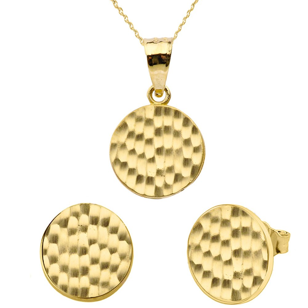 Fine 14k Yellow Gold Love Hammered Round Charm Pendant Necklace and Earring Set, 20''