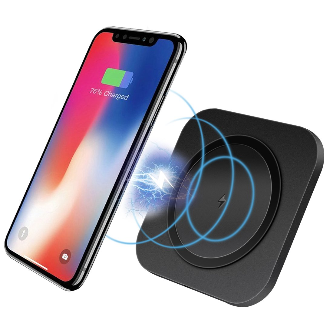 Wireless Charger - Pohopa Wireless Charging Pad with Anti-Slip Rubber for Apple iPhone X, iPhone 8 / 8 Plus, Samsung Galaxy S9 / S9+, Note 8 / S8 / S8 Plus, S7 / S7 Edge and More Qi-Enabled Devices ( Black ) W750