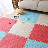 yazi 24''x24''x0.47'' Eva Foam Mat Interlocking Anti-fatigue Puzzle Exercise & Fitness Gym Soft Yoga Trade Show Play Room Basement Square Floor Tiles