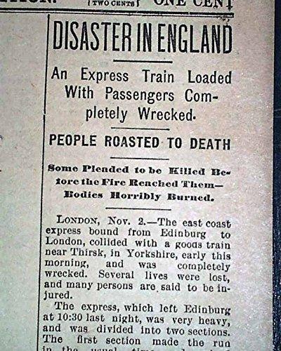 THIRSK RAIL CRASH North Riding Yorkshire England TRAIN Wreck 1892 Old -