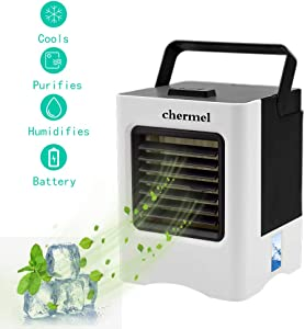 Portable Air Conditioner, Mini Personal Air Cooler, Humidifier and Purifier Desktop Cooling Fan with 3 Speeds Evaporative Cooler for Home, Office, Dorms, Travel