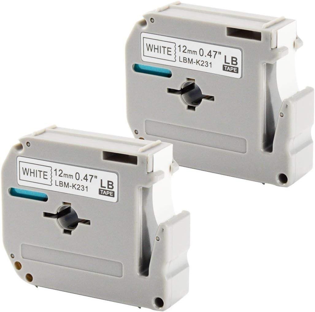 2PK MK231 Black on White for Brother 12mm M-K231 M231 Tape PT-65SL Label Maker