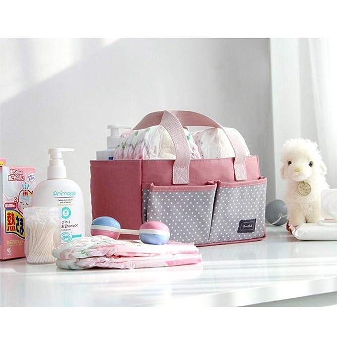 FOONEE Organizador de pañales portátil Grande para bebé, Cesta de Almacenamiento para biberones, pañales, Juguetes, Aperitivos y artículos Esenciales ...