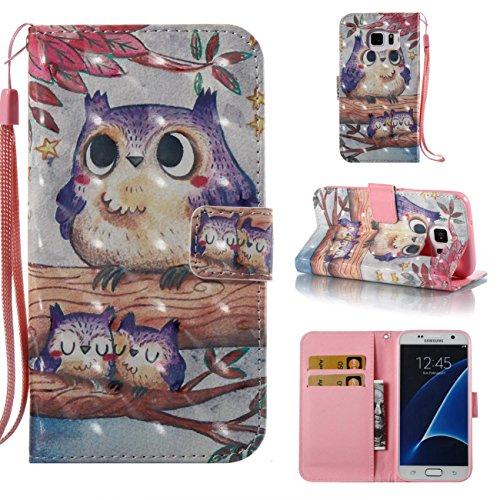Galaxy S7 Case,Lightweight PU Leather Wallet Case Kickstand Flip Book Cover Built In Credit Card Slot Xmas Gift Birthday Gift for Daughter Sun Girlfriend Boyfriend for Samsung Galaxy S7-Bird