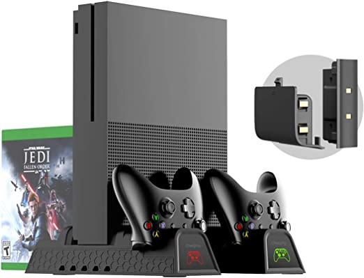 Xbox One Soporte Vertical y Ventilador de Refrigeración, estación de carga, Cargador de Batería Mando, 2x Battery Recargable controller, 12x juegos almacenamiento, USB Hub para Xbox One, One S, One X: Amazon.es: