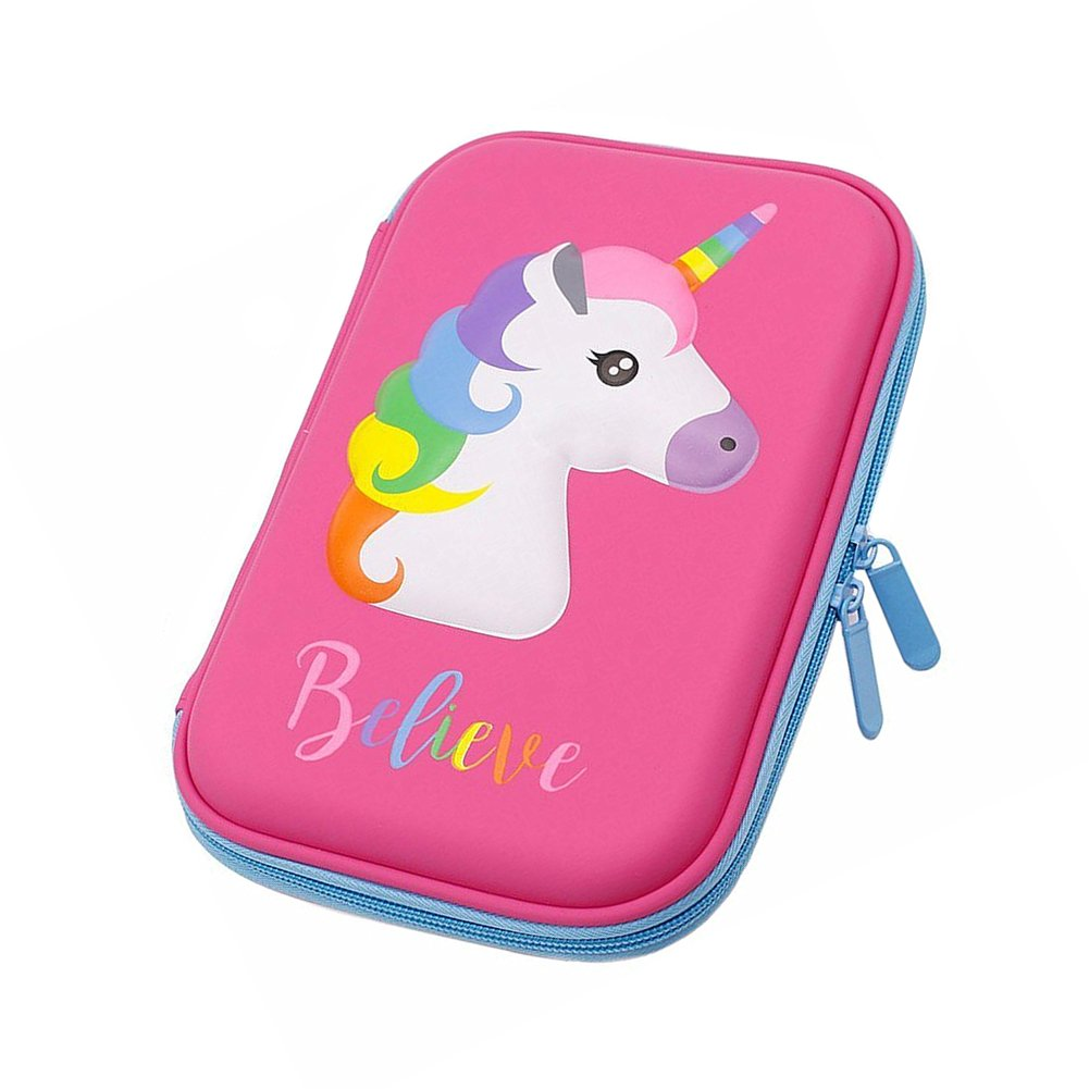 SEALEN Pencil Case, Unicorn Pen Pouch Stationery Box, Large Cute Colored Pencil Holder with Compartments for School Students Girls Teens Kids (Blue) Pencil Case Blue