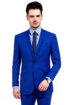 Ma 100 Wool Royal Blue Slim Fit Business Suit Men S Modern Fit 2