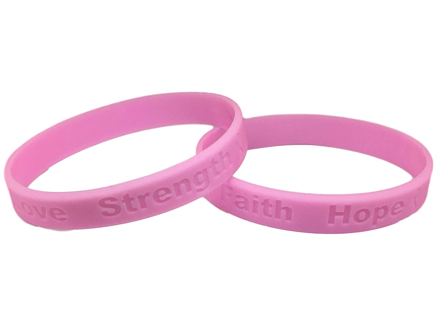 2 High Quality Bracelets Medical Grade Silicone 2 Pink Breast Cancer Awareness Bracelets Latex and Toxin Free