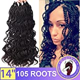 Silike (3 Pieces) 14'' Thin Curly Senegalese Twist Crochet Braids Water Wave Havana Mambo Braiding Hair Extension (1B)