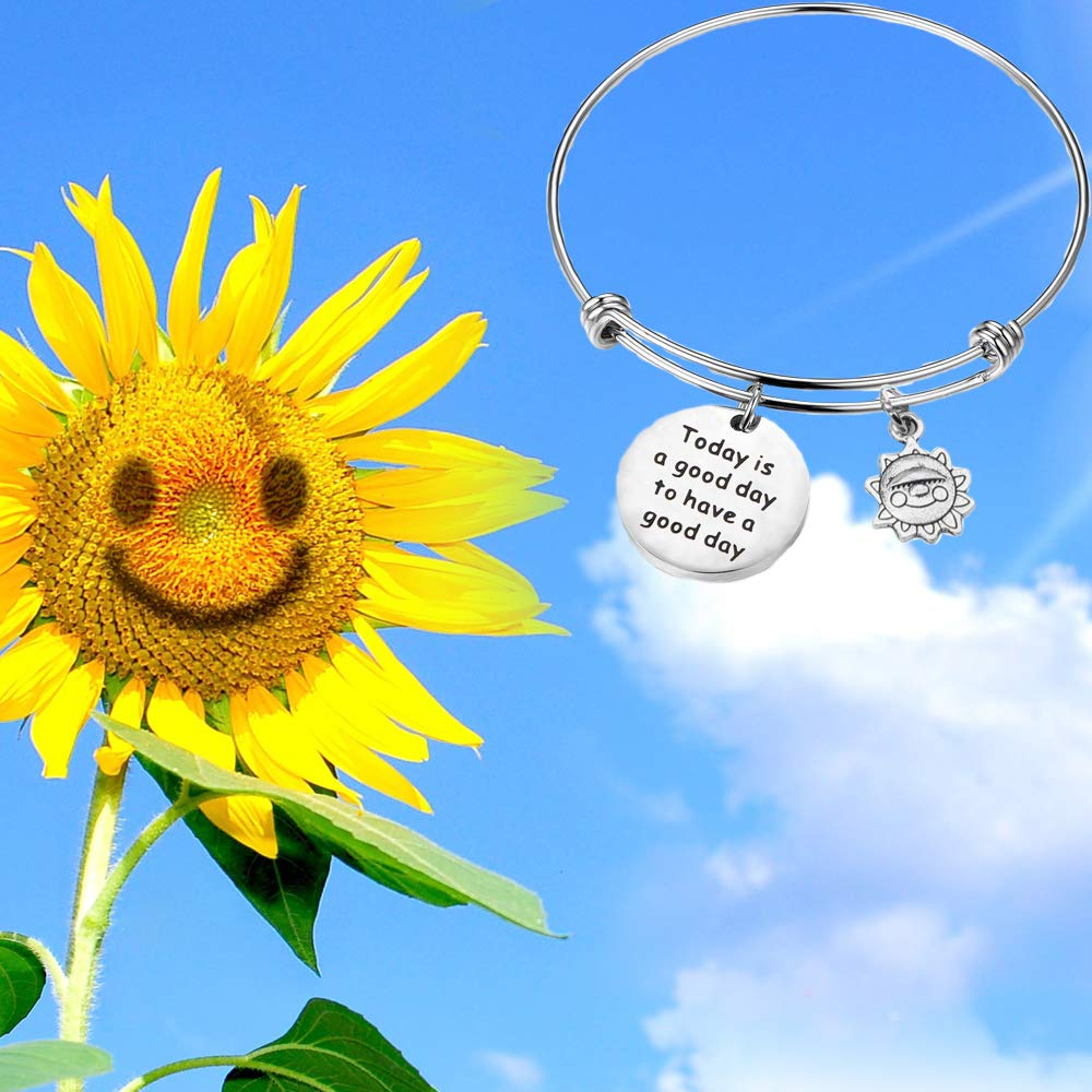 BNQL Positive Quote Bracelet Today is a Good Day for a Good Day Charm Bracelet