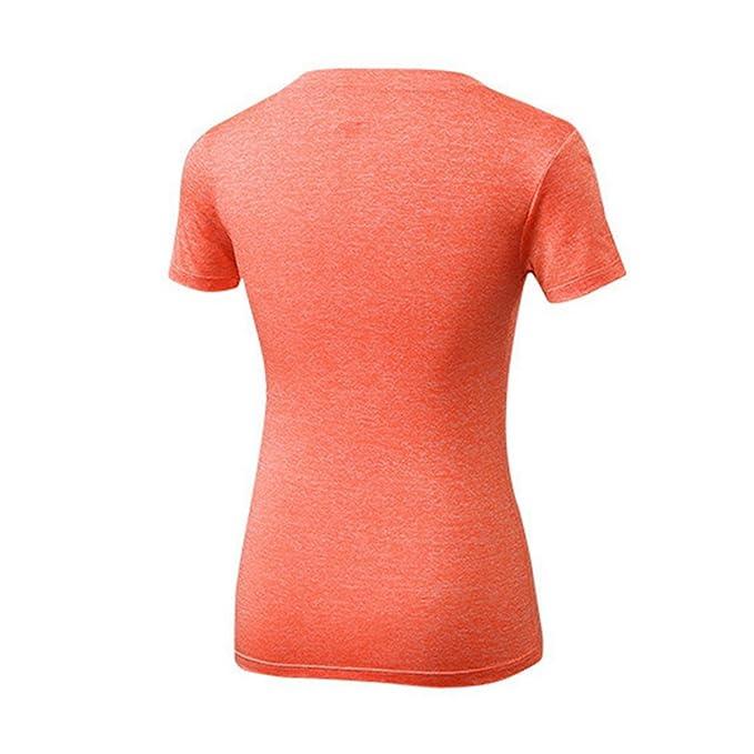b590027edf70 Youthny Femme Manches Courtes Col en V Coupe de Fitness T-shirt à Séchage  Rapide  Amazon.fr  Vêtements et accessoires
