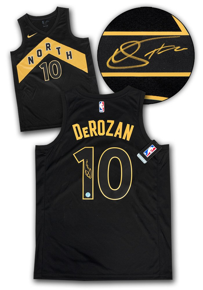 cb68a247670 Demar DeRozan Toronto Raptors Autographed Black Gold City Nike Swingman  Jersey at Amazon s Sports Collectibles Store