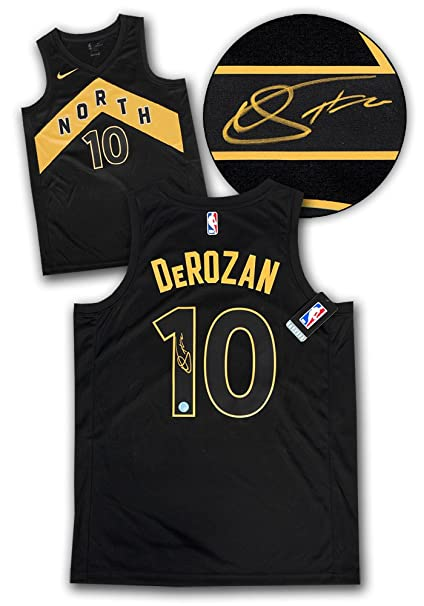 2783aa275 Demar DeRozan Toronto Raptors Autographed Black Gold City Nike Swingman  Jersey at Amazon s Sports Collectibles Store