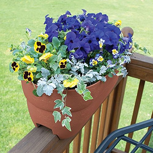 DermaPAD Adjustable Over the Railing Planter Outdoor Planting Box - 24'' - TERRACOTTA