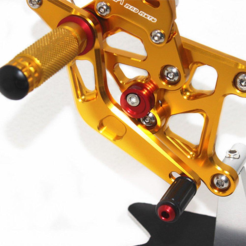 Titanium MADRACING 2011-13 CBR250R CBR300R//CB300F Motorbike Adjustable Rearsets CNC Aluminum
