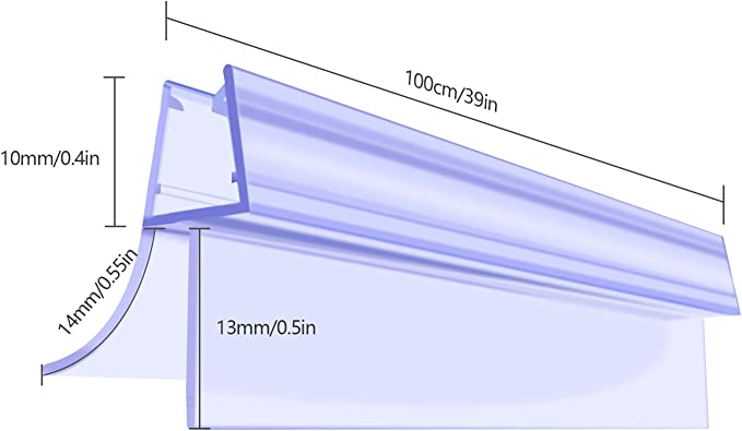 Qhui 2 x 100 cm Tira de sellado curvada Derecho para mampara de ducha 6-8mm cristal, sello de puerta de ducha de PVC Premium con separación de hasta 14 mm: Amazon.es: Bricolaje