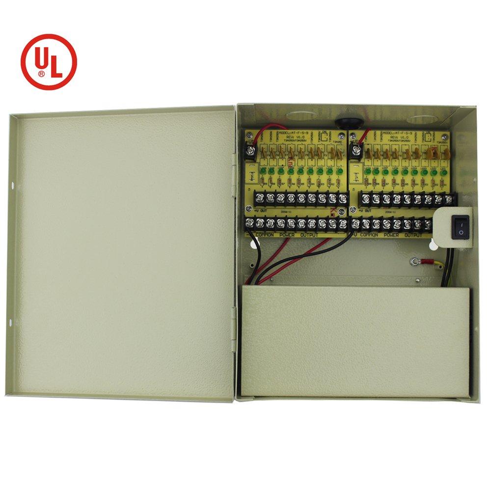 Ateckpower 18 Channel Port Output 12V CCTV PTC Power Distribution Supply Box for Security Cameras