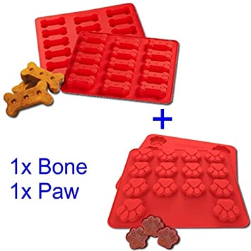 Mobi Kitchen Dog Treats Silicone Cookie Cake Pan Mold - Set of 2 -  Bone-Shaped and Paw Prints