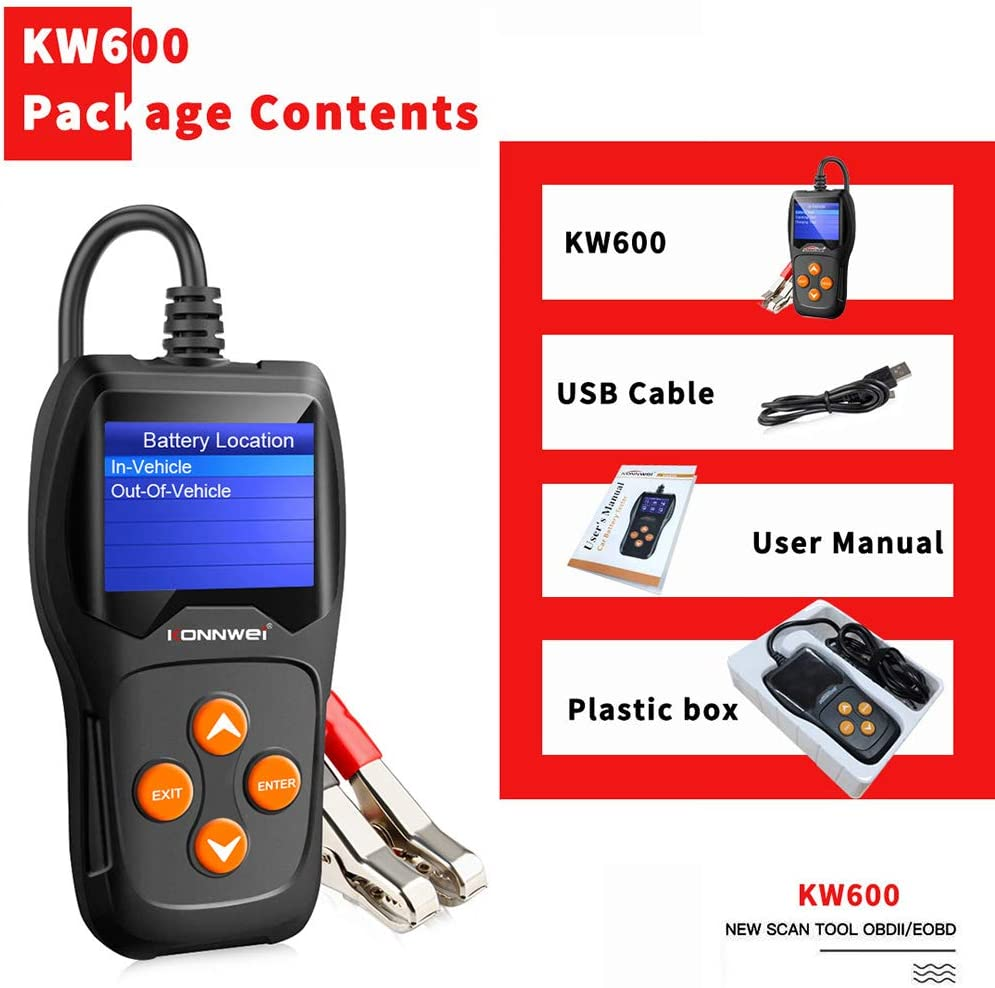 Konnwei 4400600 Battery Tester Kw600 Starting System Car Diannose Device Tool Charging System 100 2000 Cca 220ah Automotive Battery Analyzer Battery Status Test Tool For All 12v Cars Suv Auto