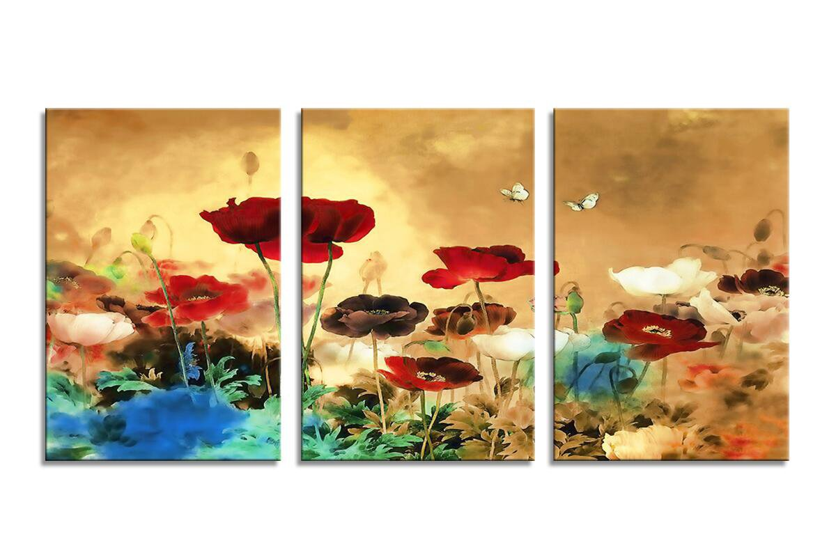 Amazon.com: YPY Blooming Poppies Wall Art Colorful Floral Pictures ...