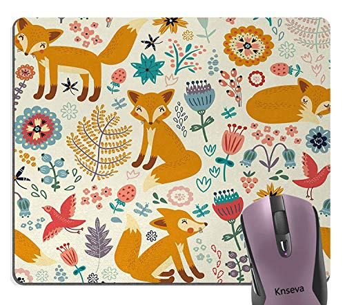 Smooffly Gaming Mouse Pad Custom,Fox Pattern Stain Resistance Collector Kit Kitchen Desk Drink Seamless Coaster Mouse Pad