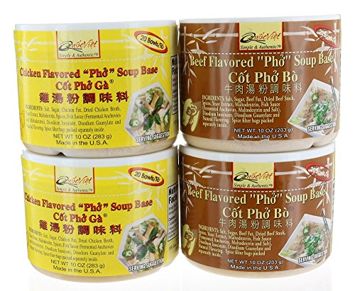 Vietnamese Pho Flavored Soup Base 4 Combo Pack, 2 Chicken & 2 Beef Char 10 oz/283 grams each