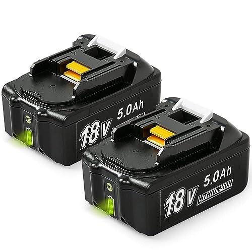 NeBatte 2x BL1850B 18V 5,0 Ah Lithium Ersatzakkus für werkzeug akku Makita BL1860B BL1860 BL1850B BL1850 BL1840B BL1840 BL1830B BL1830 BL1820 LXT-400 mit Indikator