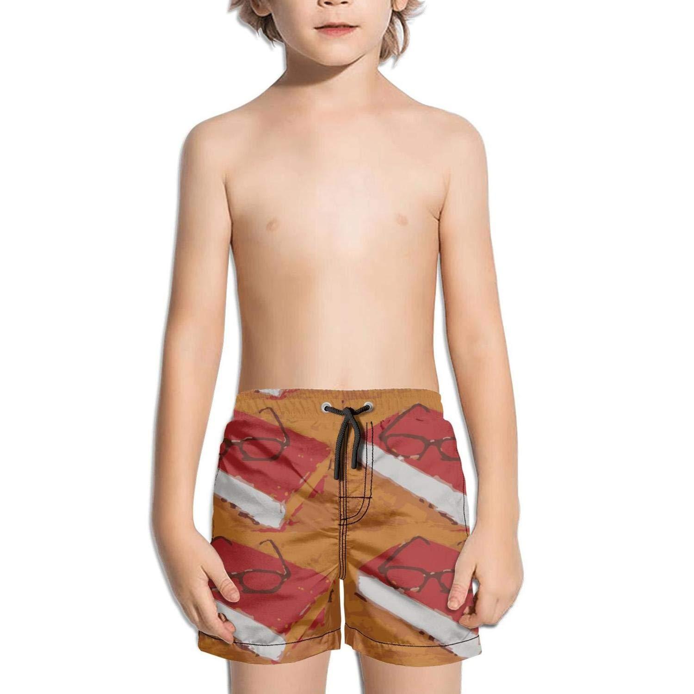 Ouxioaz Boys' Swim Trunk Book Under Glasses Painting Beach Board Shorts