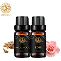 Aromatherapy Rose Essential Oils Set, 100% Pure Sandalwood Scent Essential Oils Set, 2X10ml Therapeutic Grade Sandalwood Aromatherapy Essential Oils Rose Fragrance Kit for Diffuser, Humidifier, Home