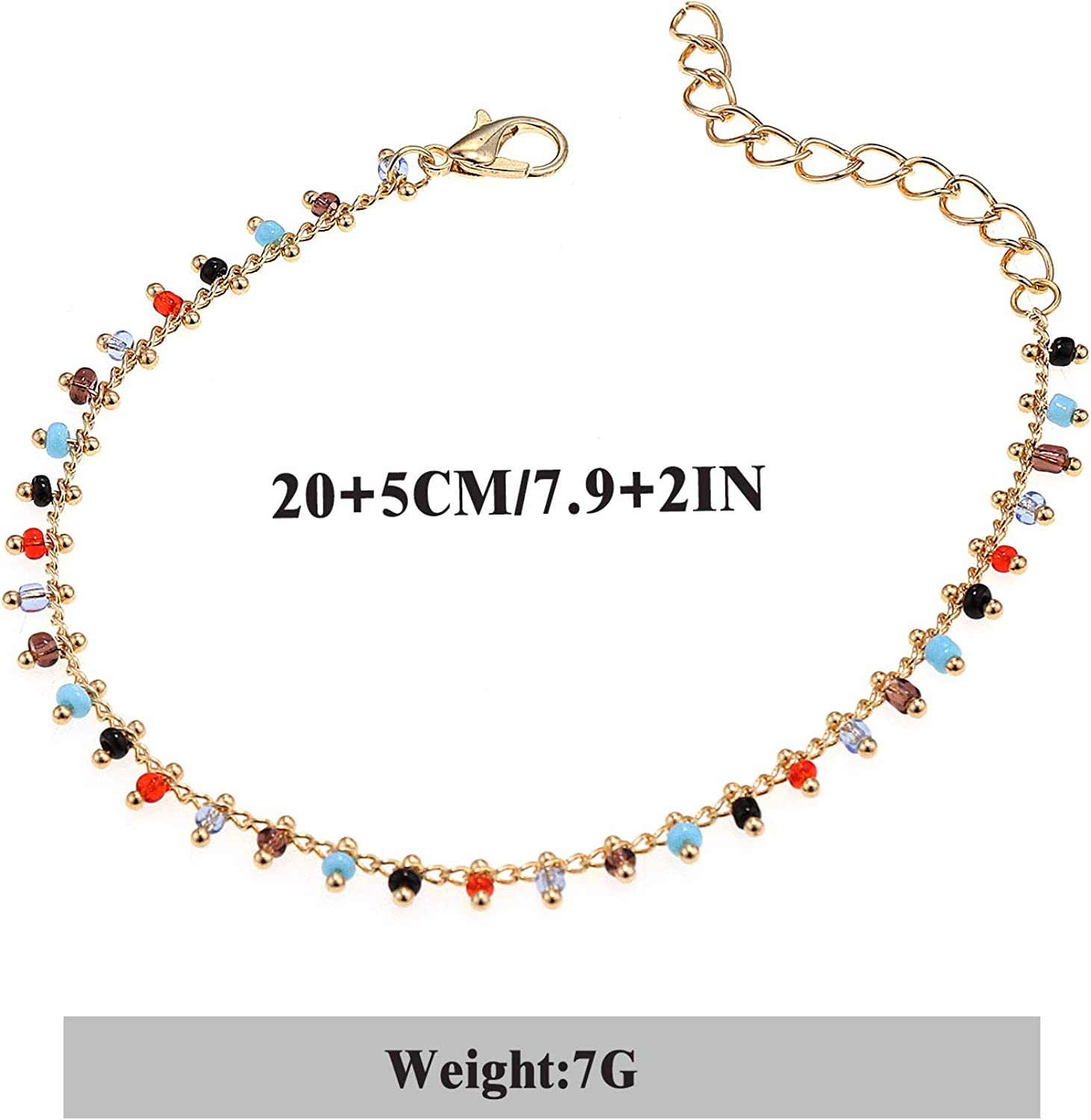 Suyi Ankle Bracelet for Women Girls Adjustable Boho Beach Anklets Color Bead Foot Chain Gift