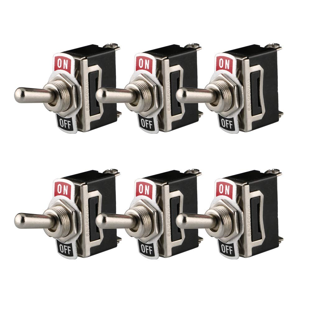 ARTGEAR 6 piezas Conmutador de Palanca SPST AC125V 10A / AC250V 6A, Interruptor de Palanca ON/OFF 2 Posiciones 2 Pin, Rocker Toggle Switch para Auto Vehiculo Barco (Negro)