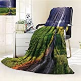 YOYI-HOME Cotton Thermal Duplex Printed Blanket,Storm About to Appear with Flash on The Field Solar Illumination Energy Green Blue Soft and Breathable Cotton/W59 x H79