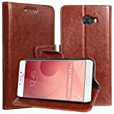 DMG Galaxy C9 Pro Flip Cover, Sturdy PU Leather Wallet Book Cover Case for Samsung Galaxy C9 Pro (Brown)