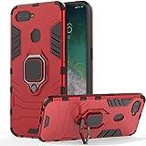【BT-Share】OPPO AX7 ケース [ 落下 耐衝撃 吸収 ] 鎧 硬い PC + ソフト TPU 緩衝ゴム ラギッド・アーマー カバー 付き360度回転スタンド (赤)