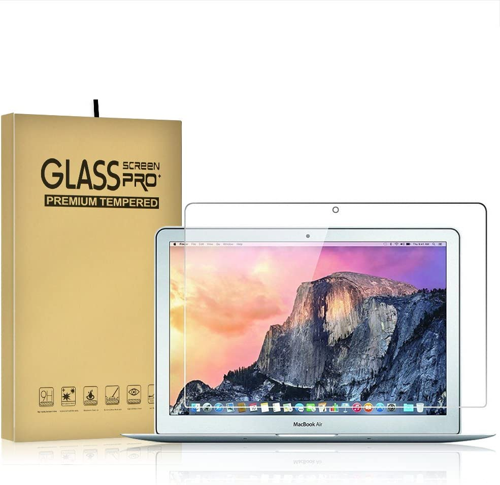 Temper Glass Screen Protector for Macbook Air 13 Inch (Only Fit for A1369 A1466) 9H Hardness Crystal Clear Scratch Resistant Bubble Free Easy Installation