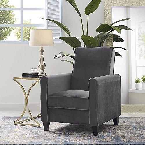 Naomi Home Landon Push Back Recliner Upholstered Club Chair Gray/Microfiber ()