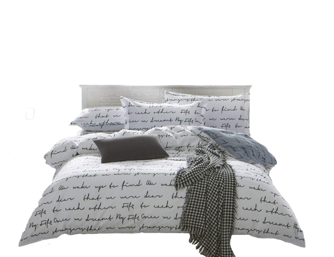Nokolulu Love Letters Print Duvet Cover Set Premium Modern Teen Boy Girl Bedroom Bedding Set Twin Comforter Cover Zipper Closure,Gifts Family,Him,Her(1 Duvet Cover + 2 Pillow Shams)(Queen White)