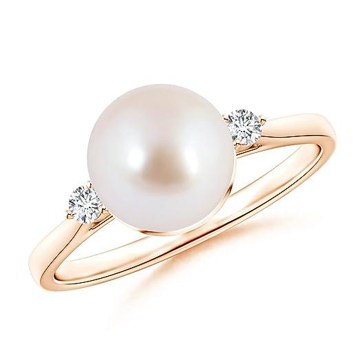 Angara Akoya Cultured Pearl Solitaire Split Shank Ring qJitYWR