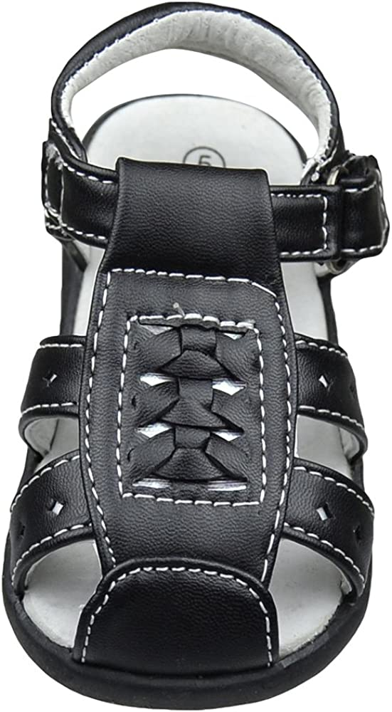 KSC Toddler Flat Sandals Braided Thick T Strap Comfort Dress Shoes Black