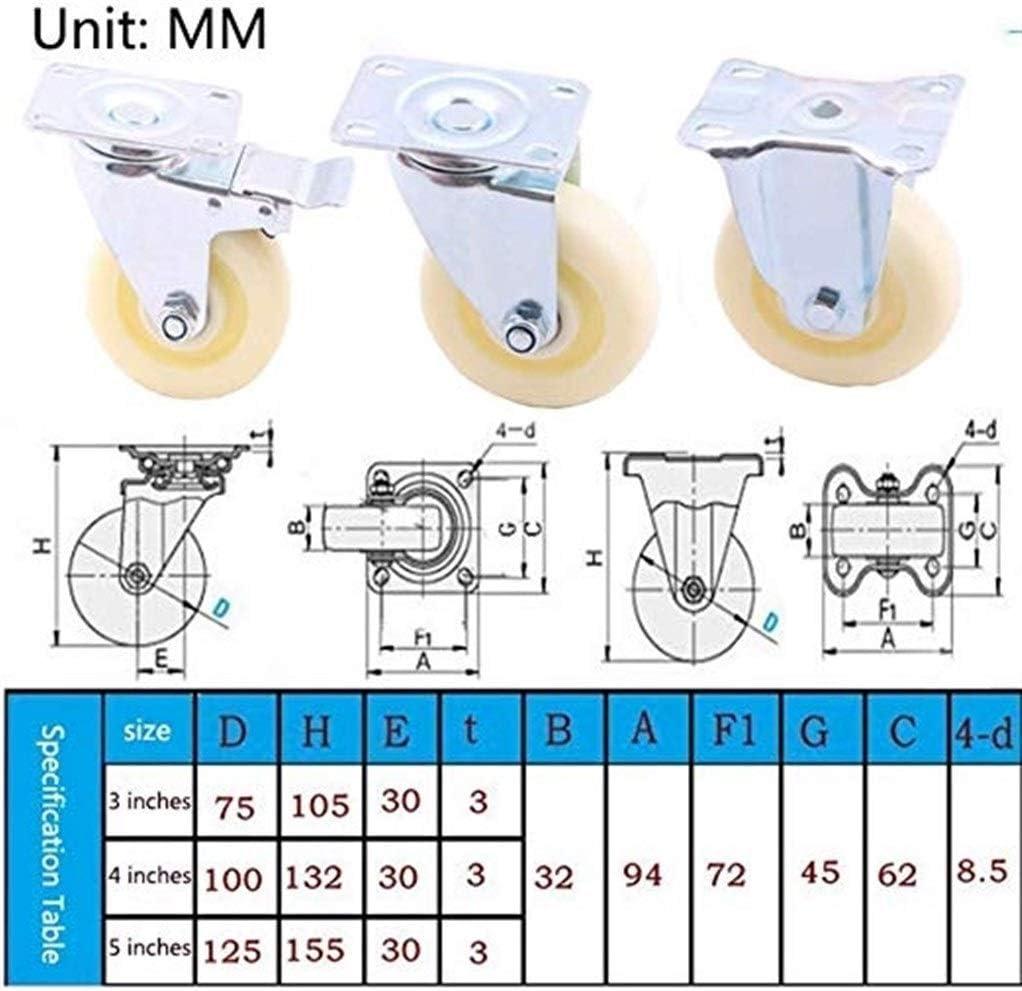 4PCS Rollers Industrial Transport Universal Swivel Wheels Reinforced Nylon Wheel Brake 3 Inch 4 Inch 5 Inch Silent Per 100kg 120kg Color : Universal Brake, Size : 5in