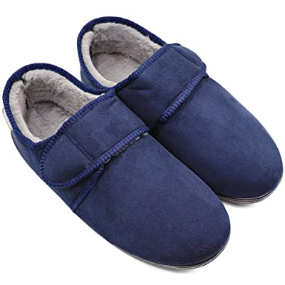 Men's Edema Slippers Winter Furry Memory Foam Comfy Warm Plush Fleece Adjustable Strap House Shoes Easy On and Off for Diabetic, Swollen Feet, Arthritis Indoor Outdoor | Slippers