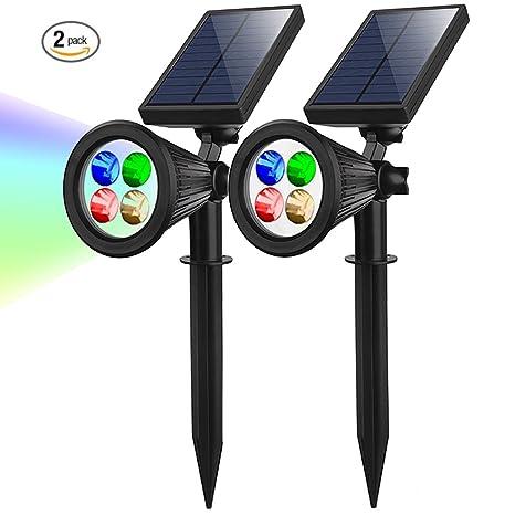 Solaire 4 LED d\'extérieur projecteur IP65 etanche Lumière énergie solaire  rechargeable automatique On / Off pour ...
