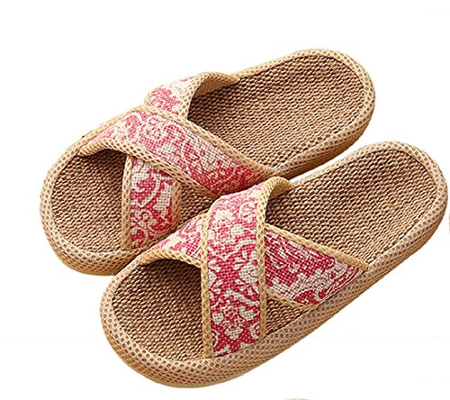 Printed Cotton Couple slip Retro Slippers TPR House Unisex Flax Pink Non Moxeay T5qnHH
