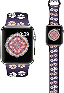 LAACO Silicone Sport Bands Compatible with Apple Watch 40mm for Women, Floral Sport Band, Dog Paw Fadeless Pattern Printed Replacement Strap Bands Compatible with iWatch 38mm Series 5 4 3 2 1