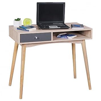 Wohnling Schreibtisch Design Burotisch Mit Schublade Sonoma Grau