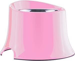 Super Design Elevated Dog Bowl Raised Dog Feeder for Food and Water, Non Spill Edges & Non Skid Sturdy Melamine Stand, Reduce Neck Stress, Less Regurgitating and Vomiting 2.5 Cup Light Pink