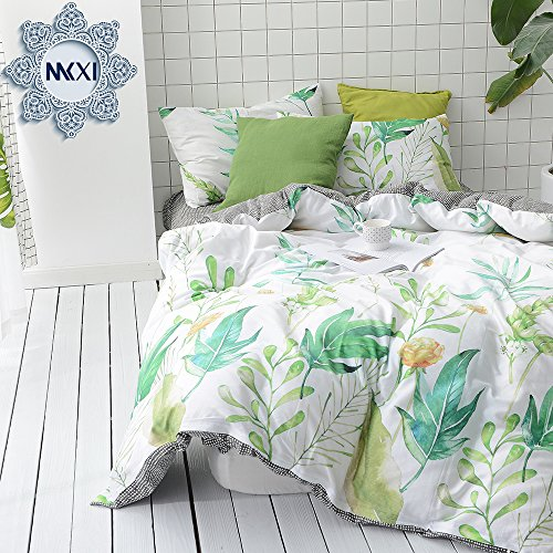 MKXI Soft Cotton Reversible Duvet Cover Tropical Green Leaf Botanical Print Bedding Set Queen (Duvet Tropical Set)